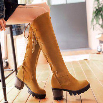 Platform Tie Up Tassels Knee High Boots - 39 39