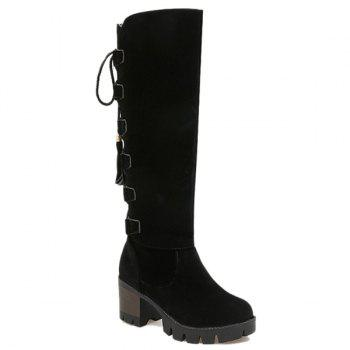 Platform Tie Up Tassels Knee High Boots