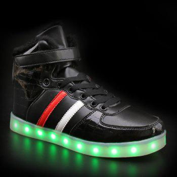 Led Luminous Flocking High Top Shoes - BLACK 44