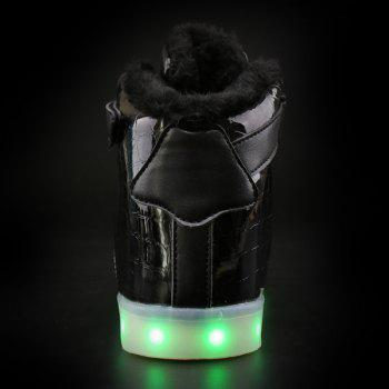 Led Luminous Flocking High Top Shoes - BLACK BLACK