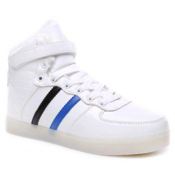 Led Luminous Flocking High Top Shoes - WHITE 44