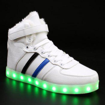 Led Luminous Flocking High Top Shoes - WHITE WHITE