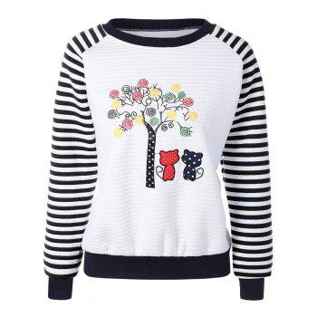 Tree Embroidery Stripe Raglan Sweatshirt