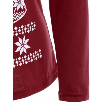 Christmas Fawn Printed Skew Neck T-Shirt - DEEP RED L