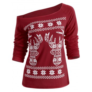Christmas Fawn Printed Skew Neck T-Shirt - DEEP RED DEEP RED