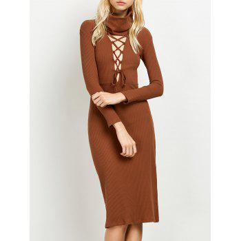Lace Up Ribbed Knit Dress