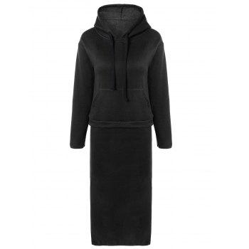 Drawstring Pocket Hoodie with Midi Skirt