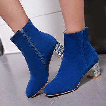 Zip Chunky Heel Rhinestones Ankle Boots - BLUE BLUE