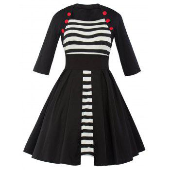 Vintage Striped Panel Swing Dress - BLACK BLACK