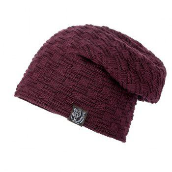 Label Woven Stripes Flocking Knit Hat