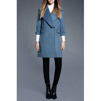 Turn Down Collar Walker Coat - BLUE S