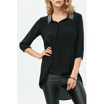 Rhinestone Silk High Low Shirt