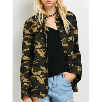 Pocket Camo Jacket With Shirt Neck