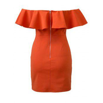 Ruffles Off The Shoulder Bodycon Dress - ORANGE RED L