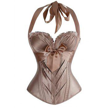 Halter Bowknot Embellished Lace Up Corset Bra