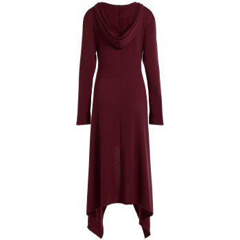 High Low Hooded Dress with Long Sleeves - DEEP RED 3XL