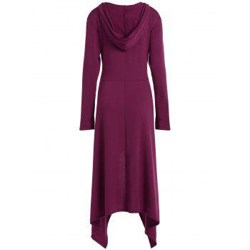 High Low Hooded Dress with Long Sleeves - RED VIOLET 3XL