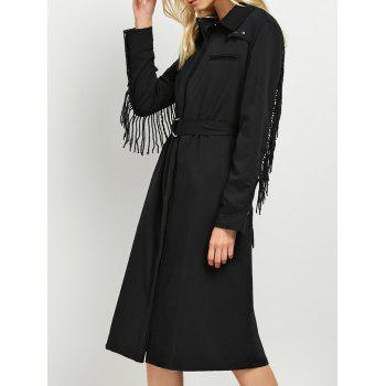 Long Sleeve Fringed A Line Midi Shirt Dress