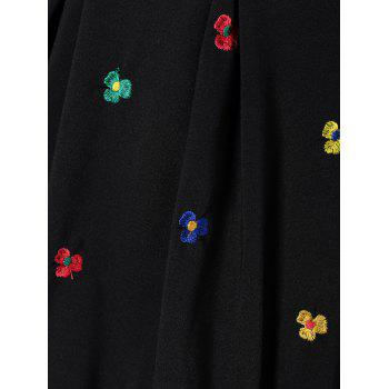 Floral Embroidered Swing Dress - BLACK XL