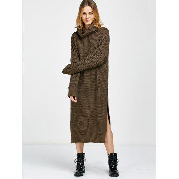 Cowl Neck Slit Midi Sweater Jumper Dress - BROWN ONE SIZE