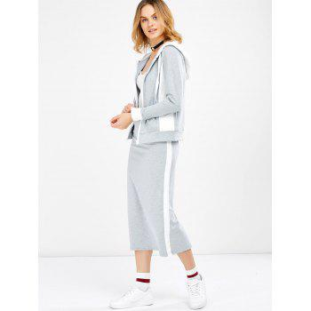 Hooded Jacket and Contrast Slit Skirt Twinset - LIGHT GREY XL