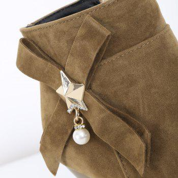 Stylish Faux Pearl and Star Design Women's Short Boots - KHAKI 38
