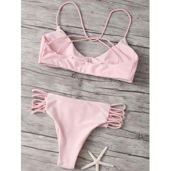 Cami Criss Cross Strappy Bikini Bathing Suit - PINK PINK
