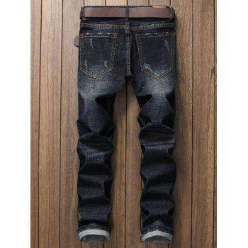 Distressed Zipper Fly Applique Jeans - BLACK 32