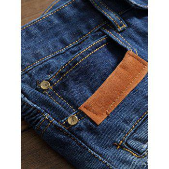 Pocket Zippered Rib Panel Contrast Patched Jeans - CLOUDY 29