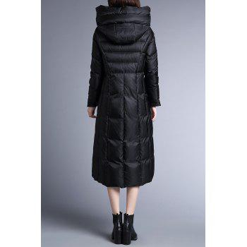 Skirted Hooded Quilted Coat - BLACK M