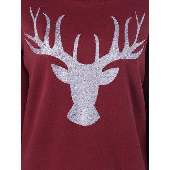 Christmas Deer Printed Pullover Sweatshirt - WINE RED 3XL