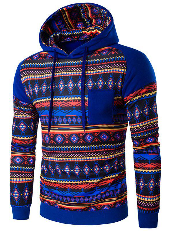 Long Sleeves Printed Hoodie - BLUE XL