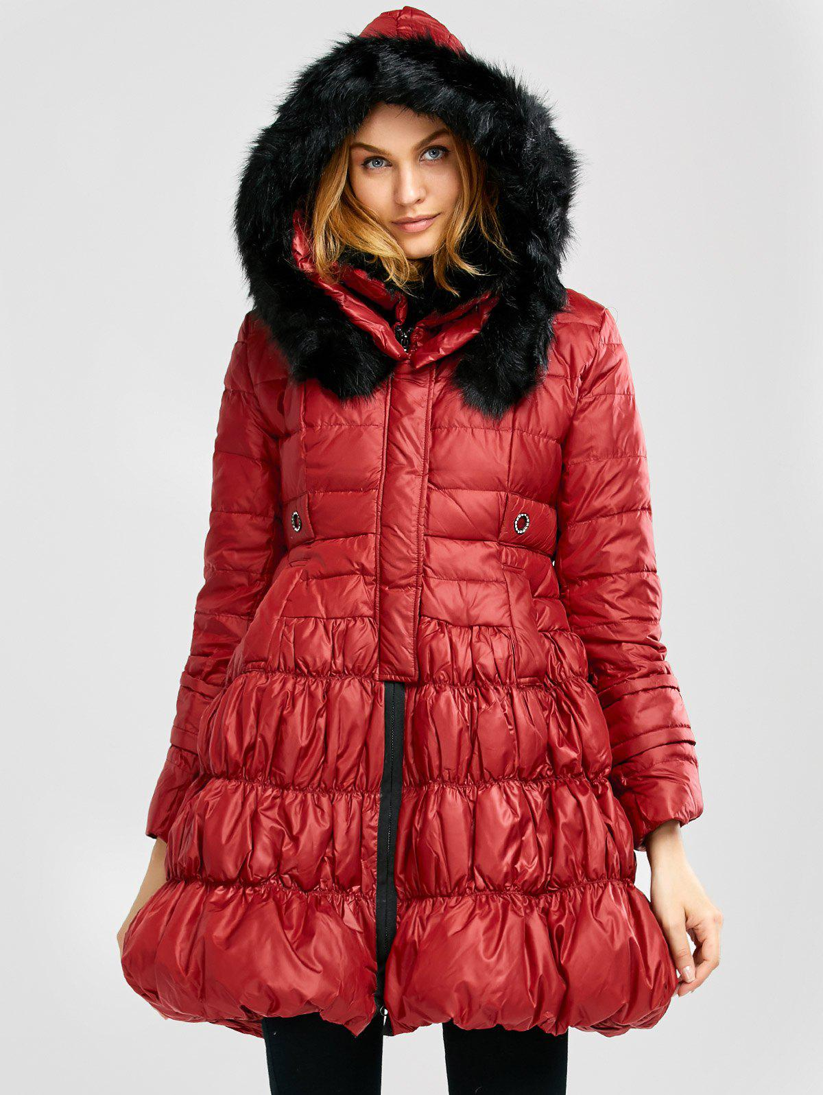 Long Skirted Down Coat With Fur Hood 5 11t youth big girls winter down jackets for the girl outerwear with fake fur hood long coat solid color manteau fille hiver