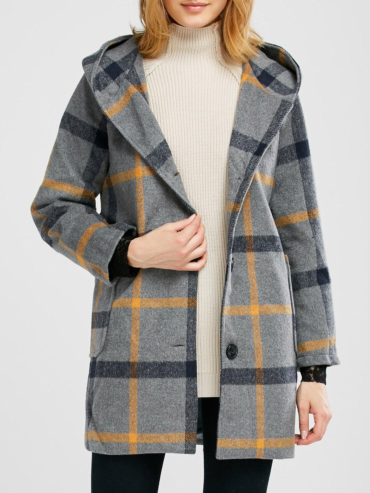 plaid pompon hooded wool blend coat gray m in jackets coats. Black Bedroom Furniture Sets. Home Design Ideas