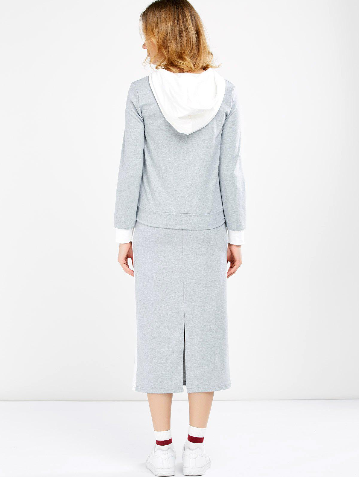 Hooded Jacket and Contrast Slit Skirt Twinset - LIGHT GREY M