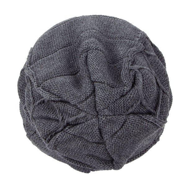 Flocking Letter Patch Knitted Slouchy Beanie - GRAY
