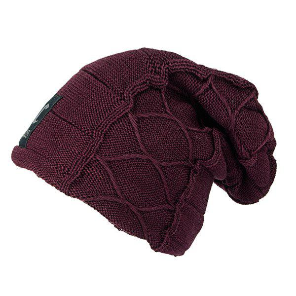 Flocking Letter Patch Knitted Slouchy Beanie - CLARET