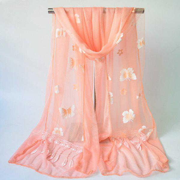 Butterfly Floral Pattern Tassel Lace ScarfAccessories<br><br><br>Color: ORANGEPINK