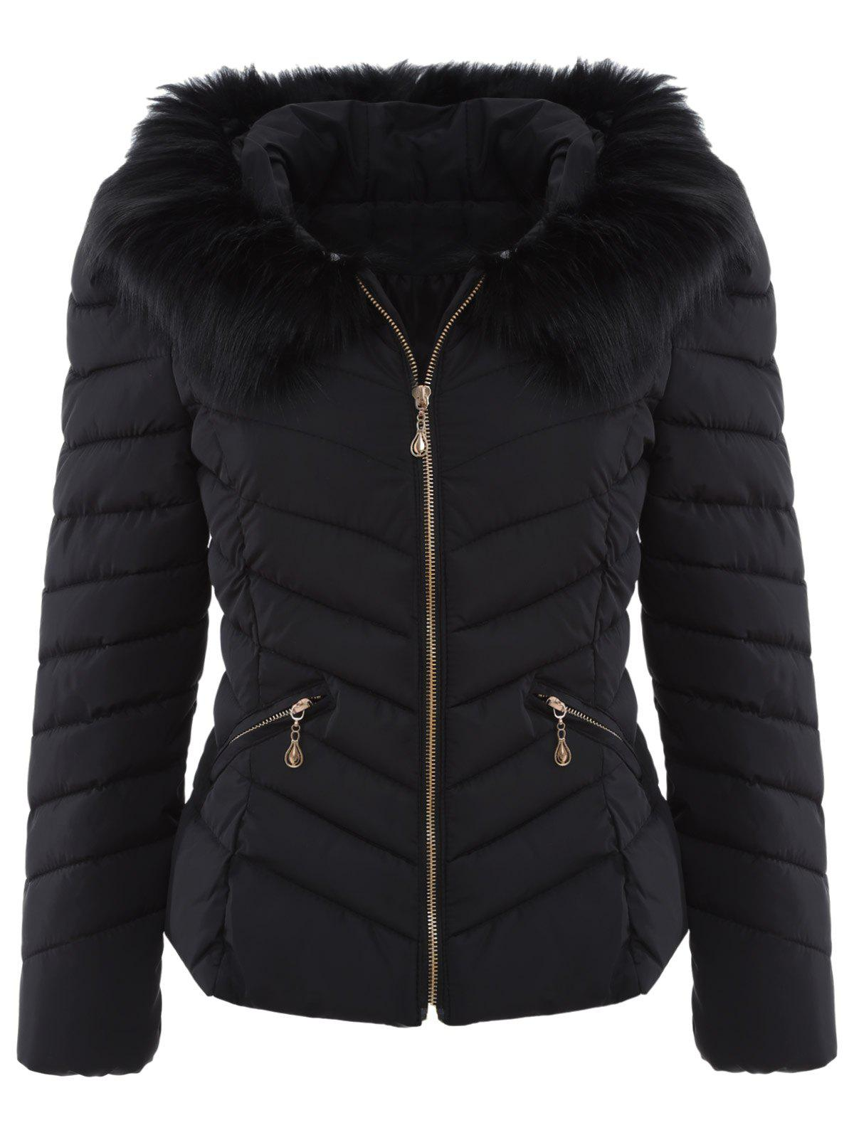 Chervon Faux Fur Hooded Quilted Jacket - BLACK ONE SIZE