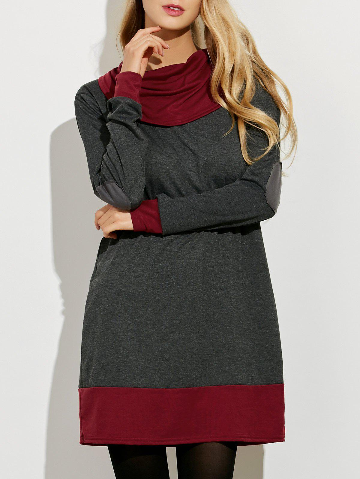 Cowl Neck Color Block Mini Dress - GRAY/RED M