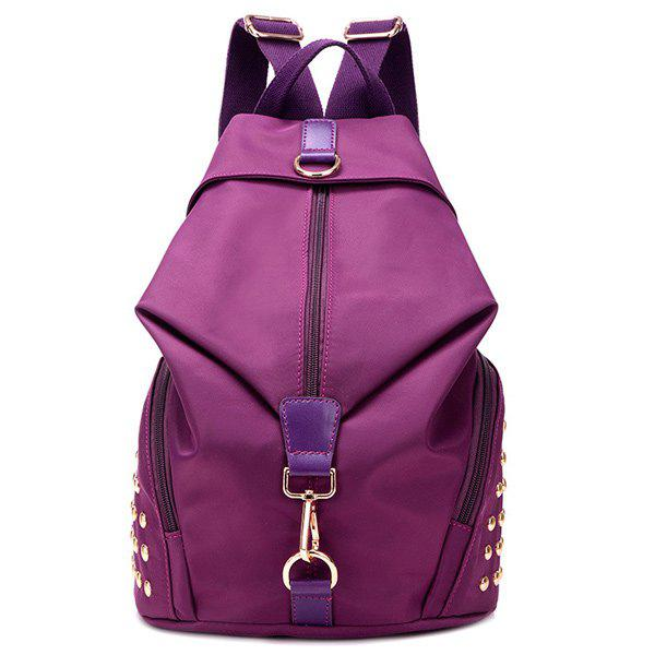 Rivet Nylon Backpack - PURPLE