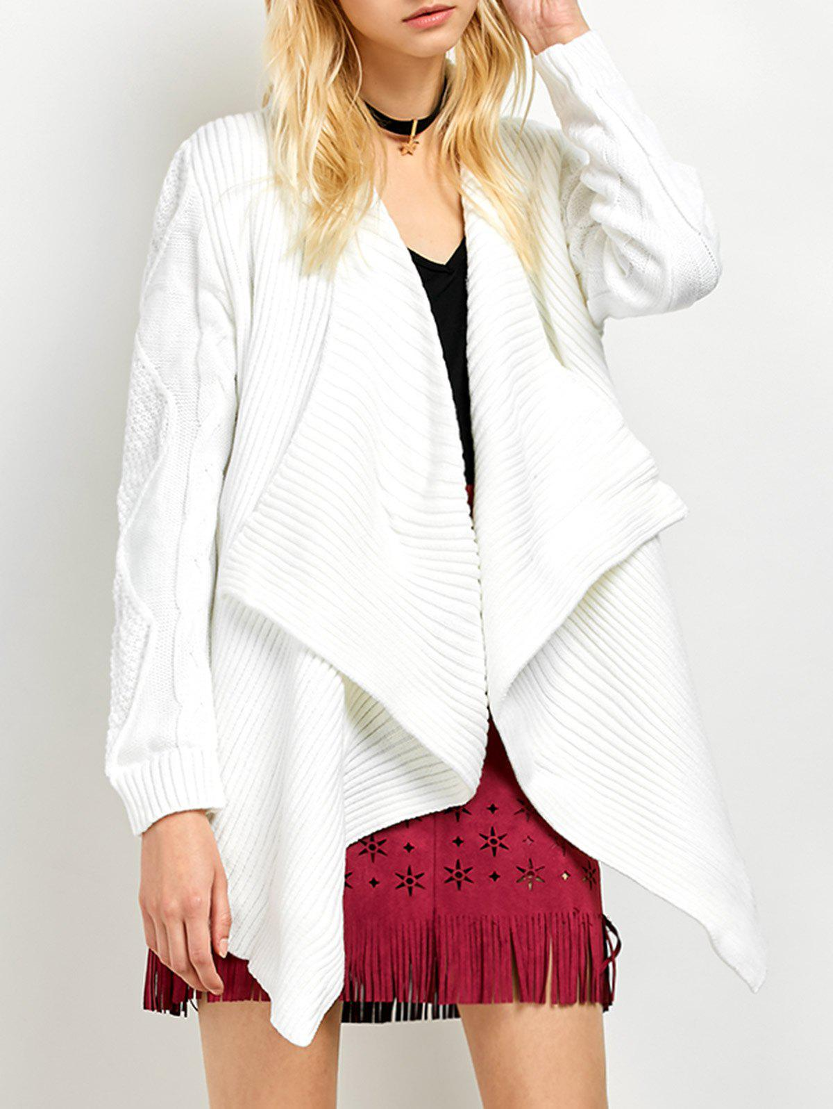Basket Weave Cable Knit Cardigan - WHITE S