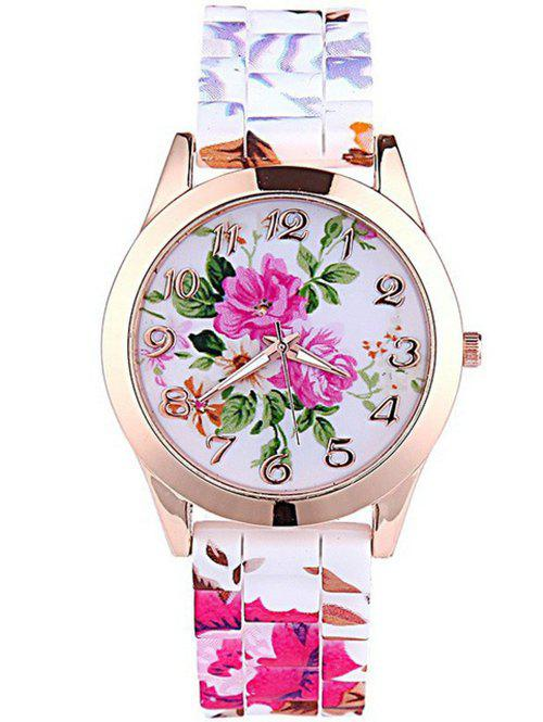 Floral Print Dial Plate Silicone Watch - WHITE