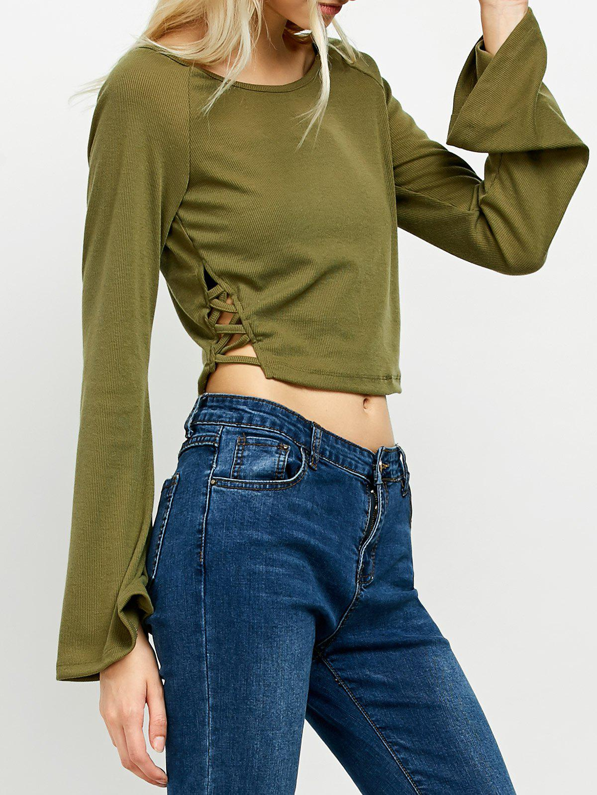 Flared Long Sleeve Crop Tee - ARMY GREEN M