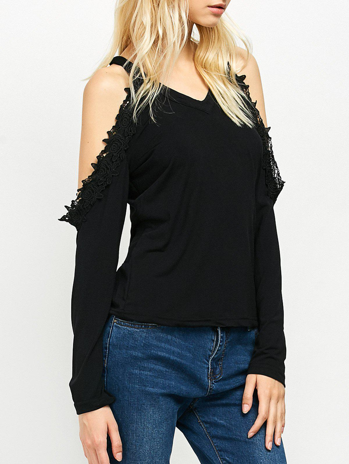Cold Shoulder Lace Trim Tee lost ink lace trim tee