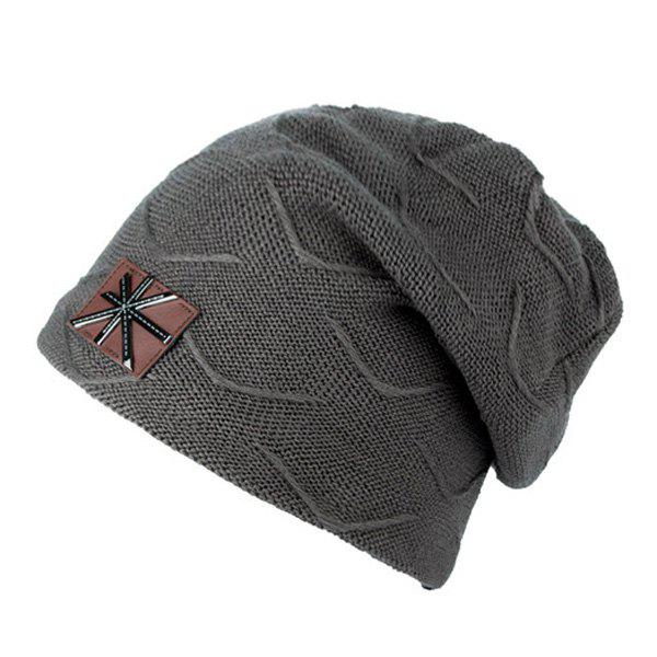 British Flag Patch Knitted Beanie - DEEP GRAY