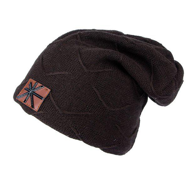 British Flag Patch Knitted Beanie - COFFEE
