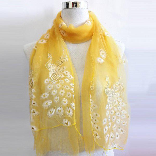 Peacock Shape Flocking Glitter Powder Lace ScarfAccessories<br><br><br>Color: YELLOW