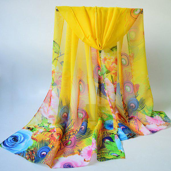 Peacock Feather and Floral Print Chiffon Scarf - YELLOW