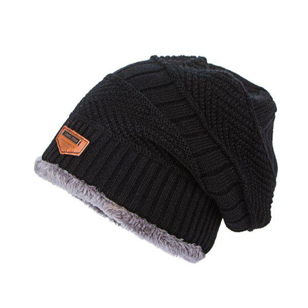 Flocking Label Knit Ski Hat - BLACK